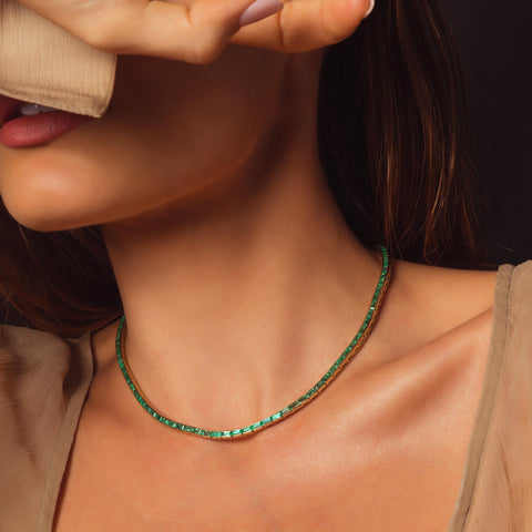 The Serena Tennis Necklace in Emerald