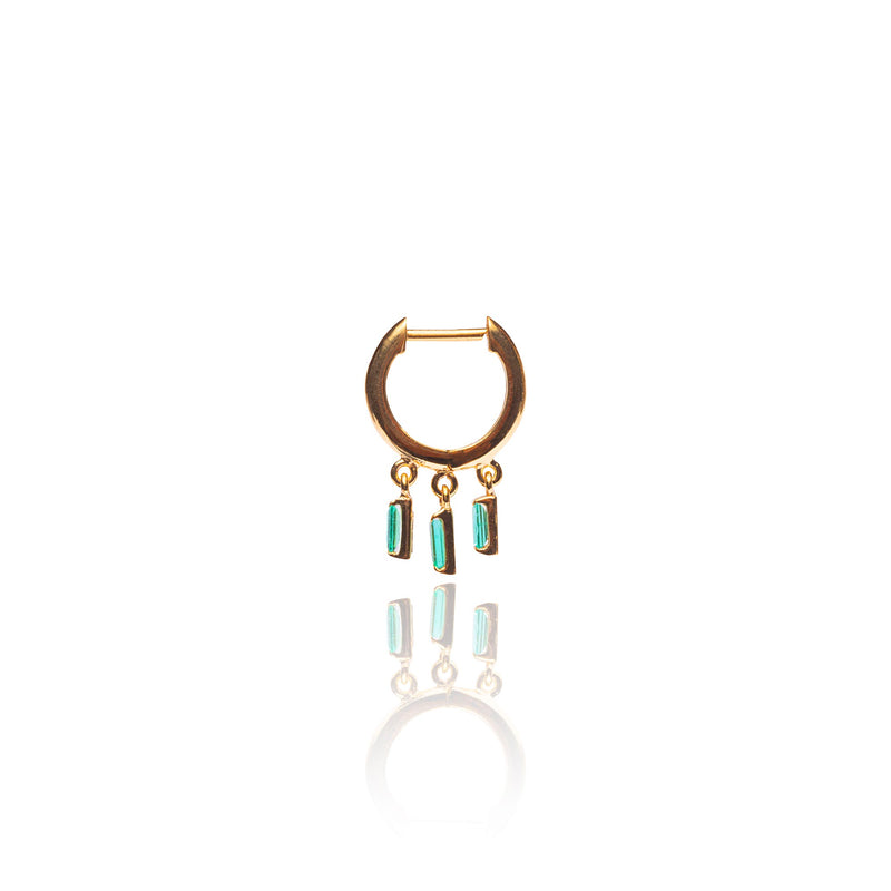 THE WIND CHIME EMERALD HOOP EARRINGS - The Moonstoned