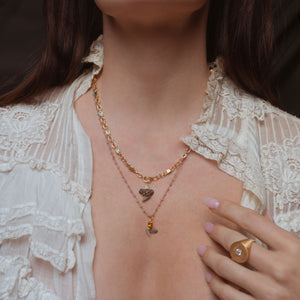 The Fossilized Sharks Tooth & Coral Chain Necklace - The Moonstoned