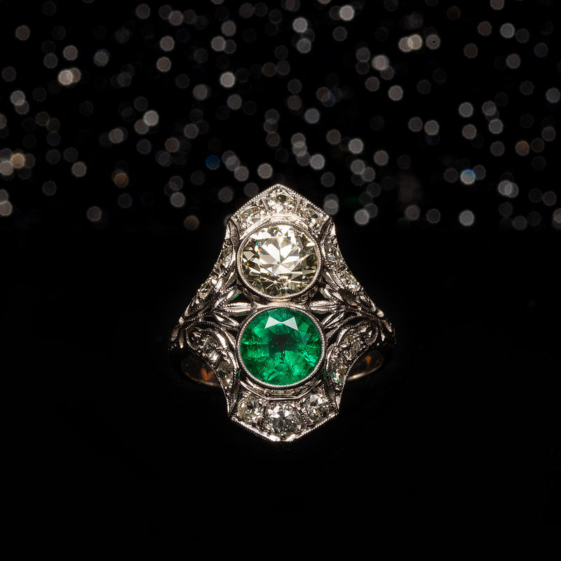 THE ART DECO MUZO EMERALD AND OLD EURO DIAMOND RING - The Moonstoned