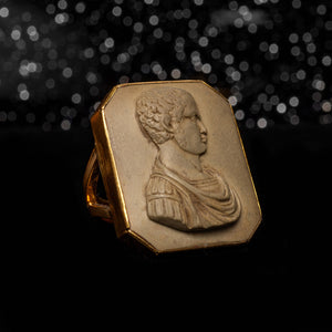 THE CARVED LAVA ROMAN CAMEO RING - The Moonstoned