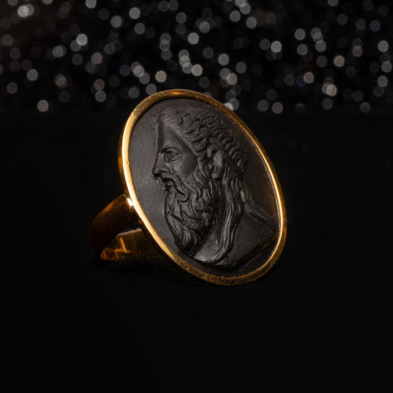 THE FRENCH BLACK LAVA CARVED PORTRAIT RING - The Moonstoned