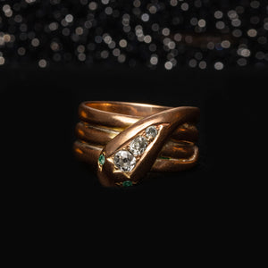 THE VICTORIAN DIAMOND SNAKE RING - The Moonstoned