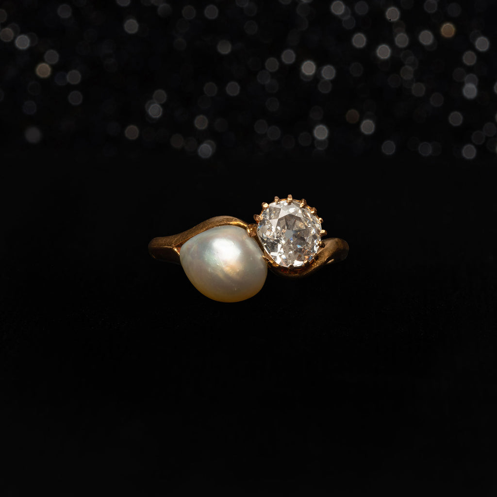 THE ANTIQUE PEARL AND DIAMOND TOI ET MOI RING - The Moonstoned