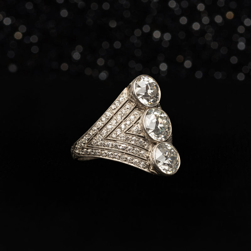 THE PAST PRESENT FUTURE DECO DIAMOND RING - The Moonstoned