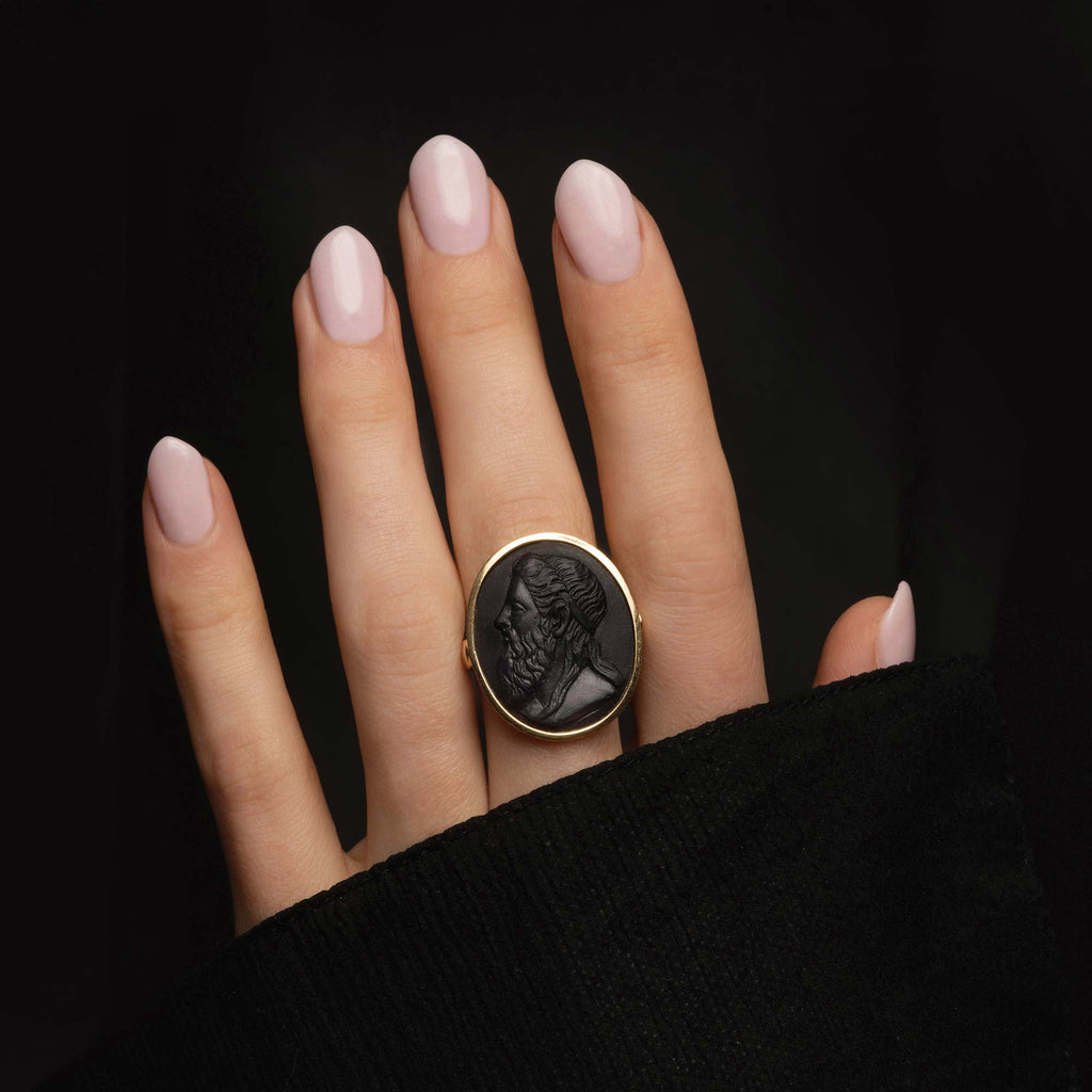 THE FRENCH BLACK LAVA CARVED PORTRAIT RING