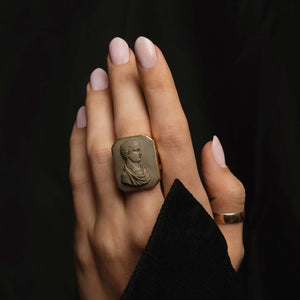 THE CARVED LAVA ROMAN CAMEO RING