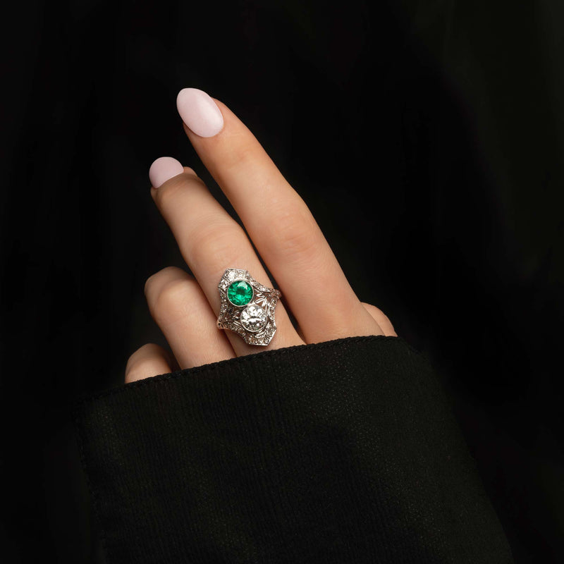 THE ART DECO MUZO EMERALD AND OLD EURO DIAMOND RING