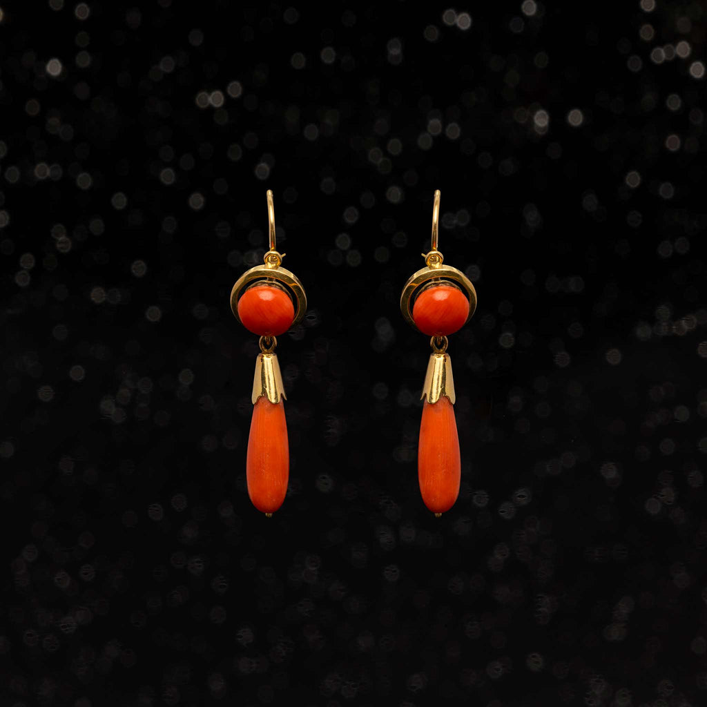 THE VICTORIAN CORAL DROP EARRINGS