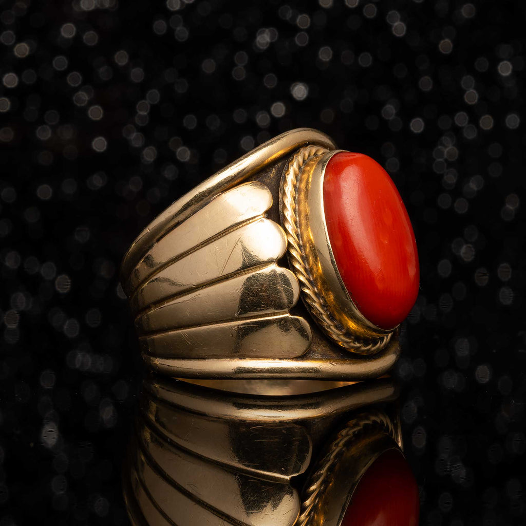 THE NAVAJO MADE 14K GOLD AND CORAL RING