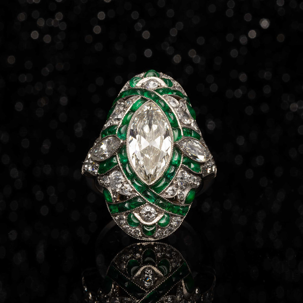 MAGNIFICENT ART DECO COLOMBIAN EMERALD AND MARQUISE DIAMOND RING