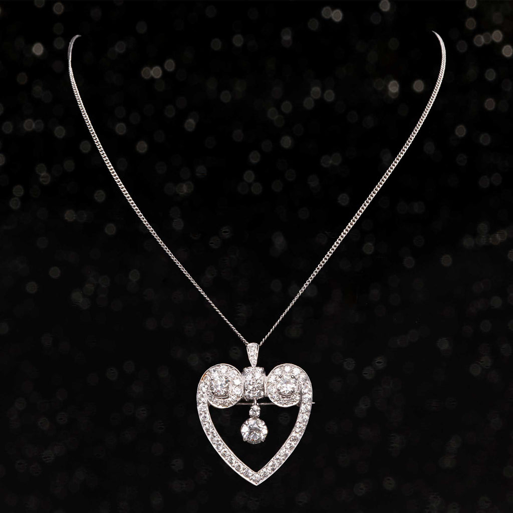 THE DIAMOND HEART BROOCH NECKLACE
