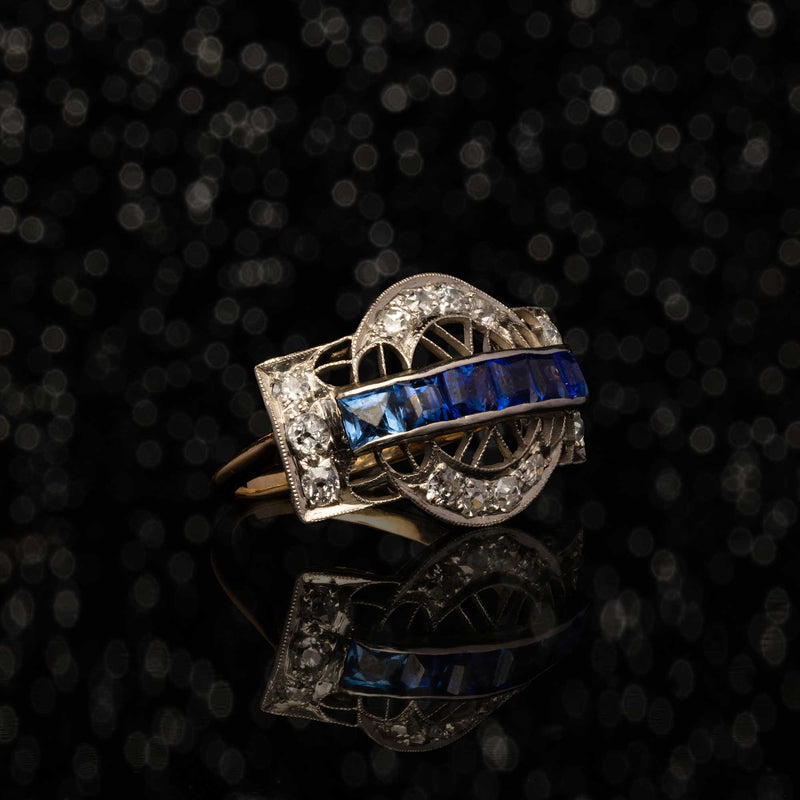 THE ART DECO SAPPHIRE SATURN RING
