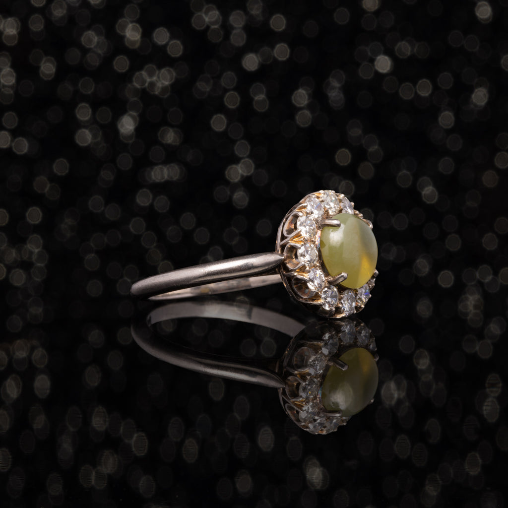 THE ANTIQUE CHRYSOBERYL DIAMOND HALO RING