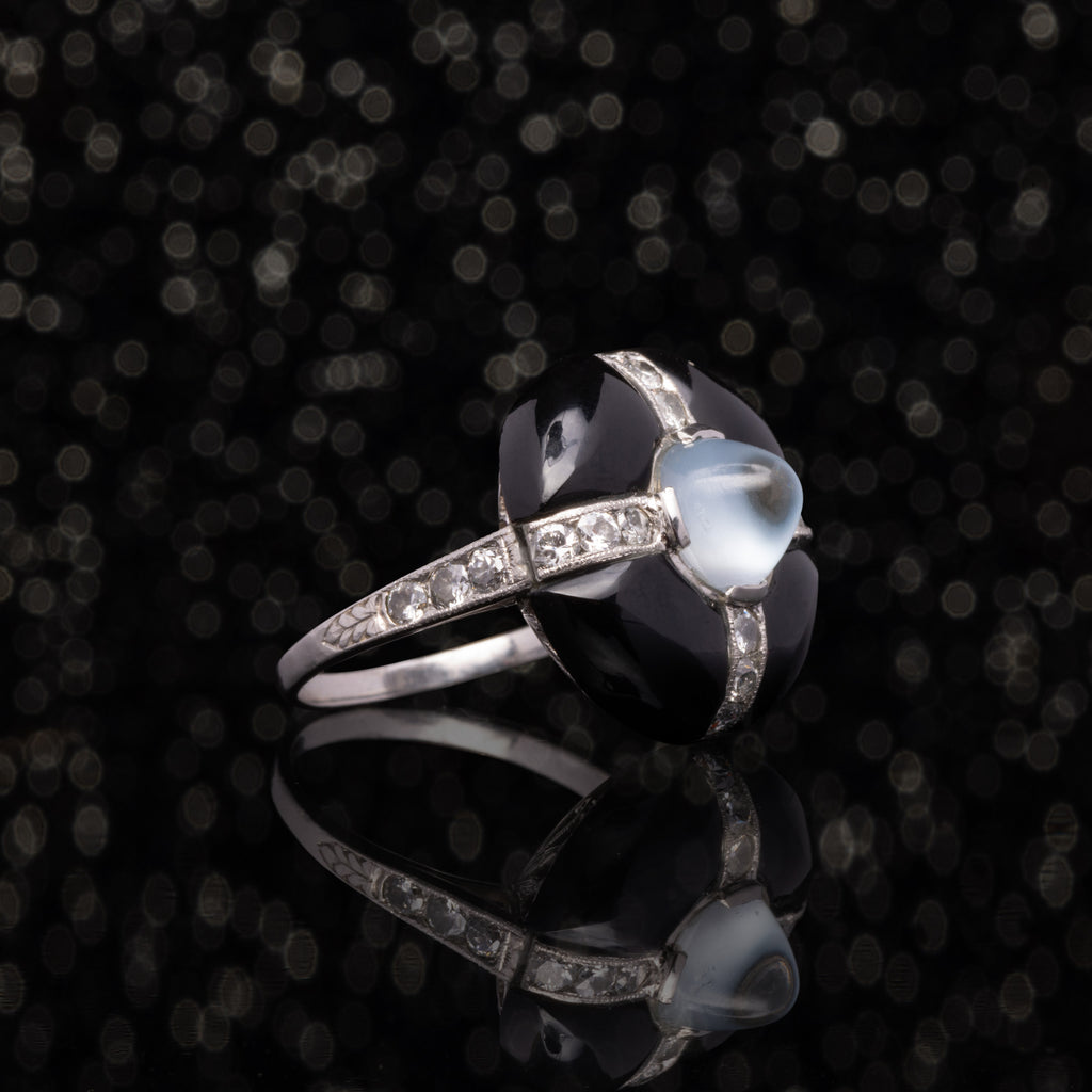 THE DECO MOONSTONE AND ONYX RING