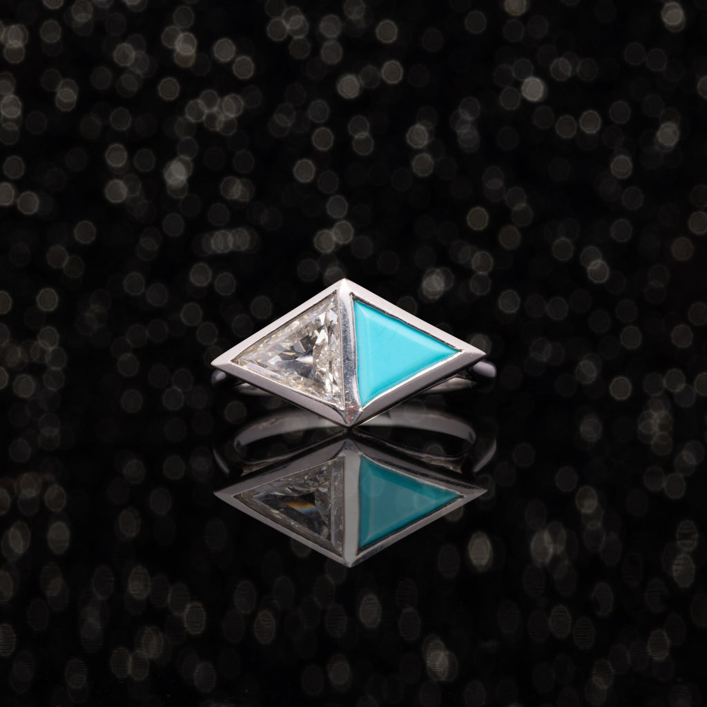 THE TURQUOISE AND DIAMOND ARROW RING
