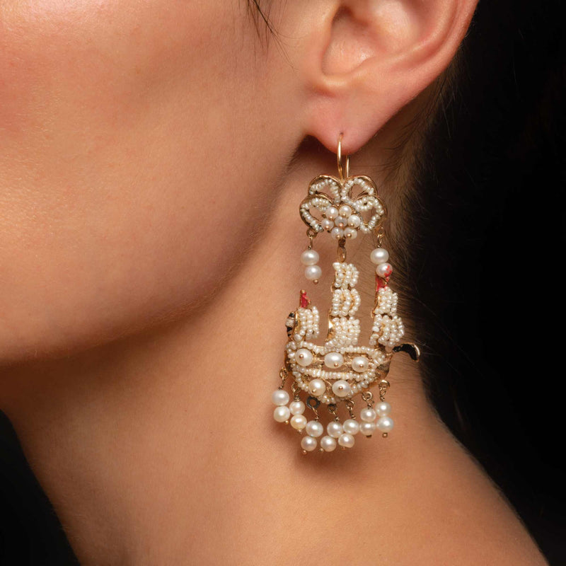 THE ANTIQUE GALLEON SHIP EARRINGS