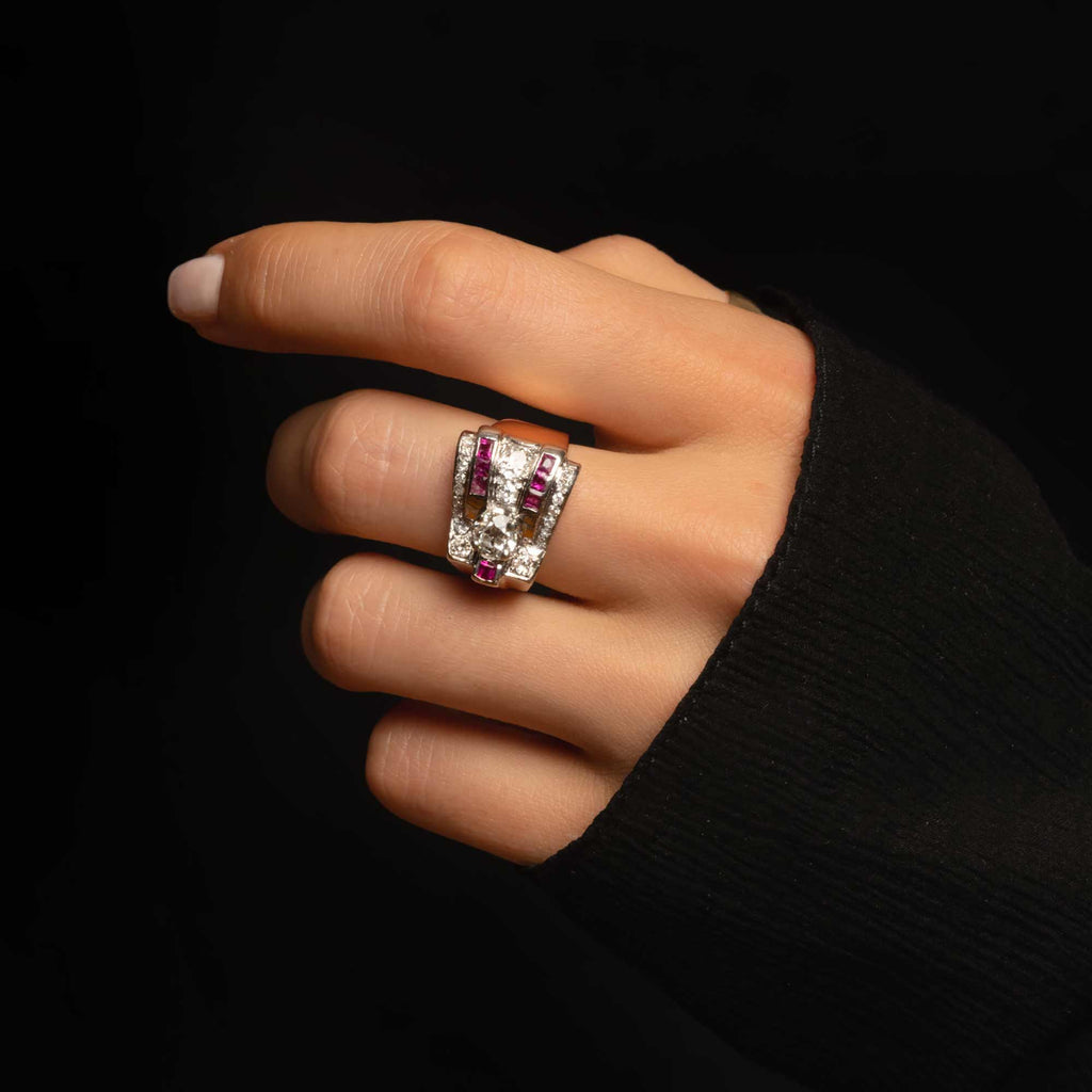 THE RETRO DIAMOND AND RUBY RING