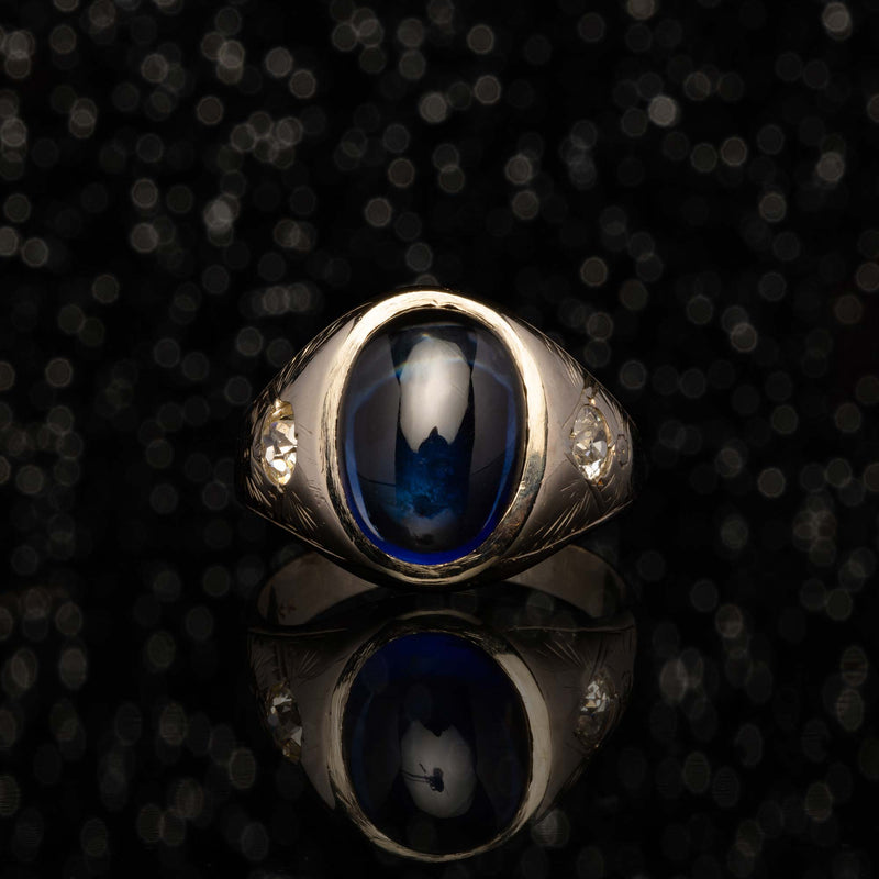 THE SAPPHIRE CABOCHON & DIAMOND RING