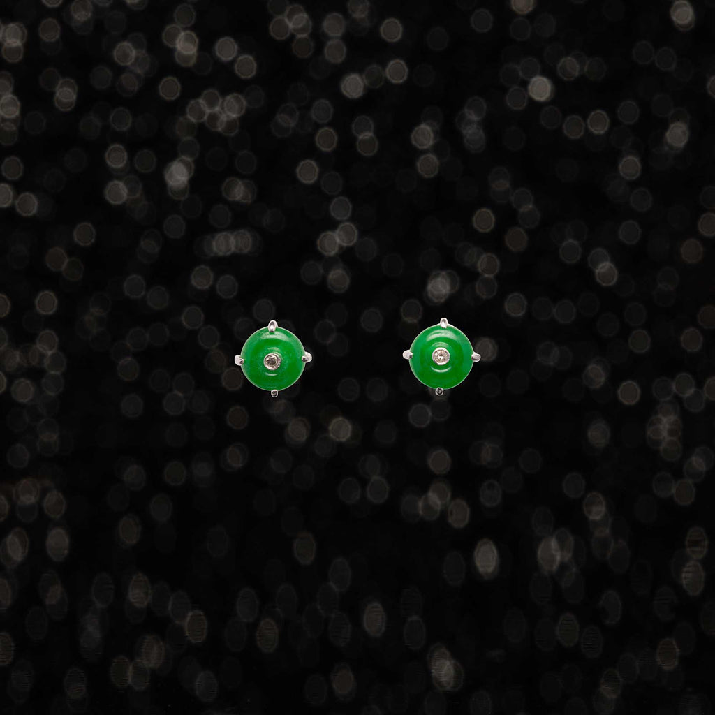 THE VINTAGE JADE AND DIAMOND STUDS