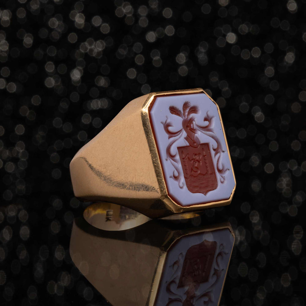 THE CARVED AGATE SIGNET RING