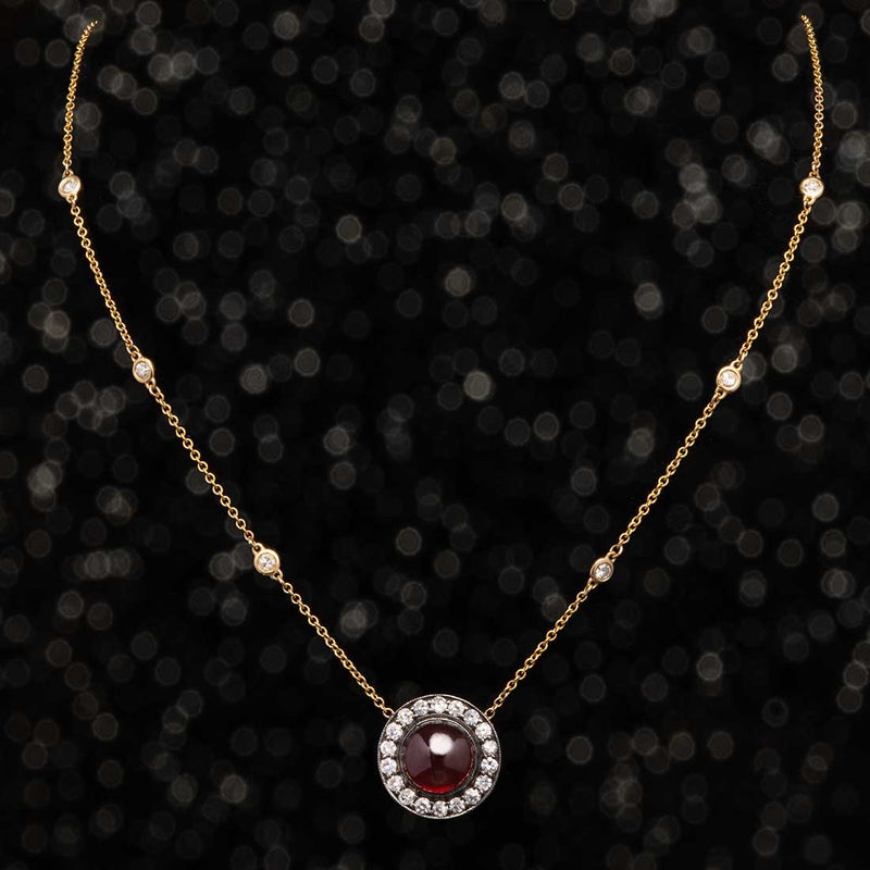 THE GARNET DIAMOND HALO NECKLACE