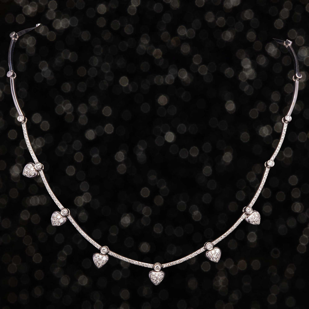 THE WHITE GOLD & DIAMOND HEART NECKLACE