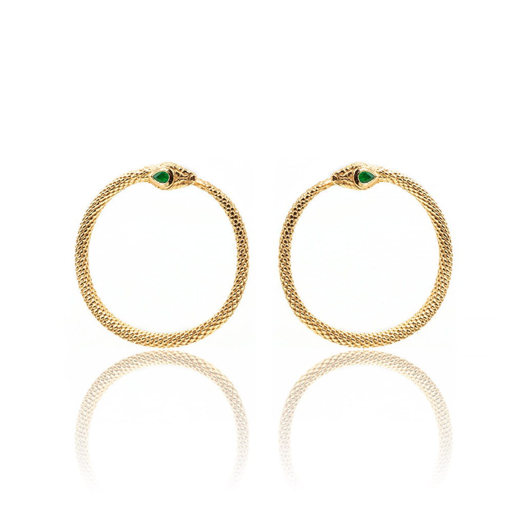 Ophia Ouroborus Snake Hoop Earrings - The Moonstoned