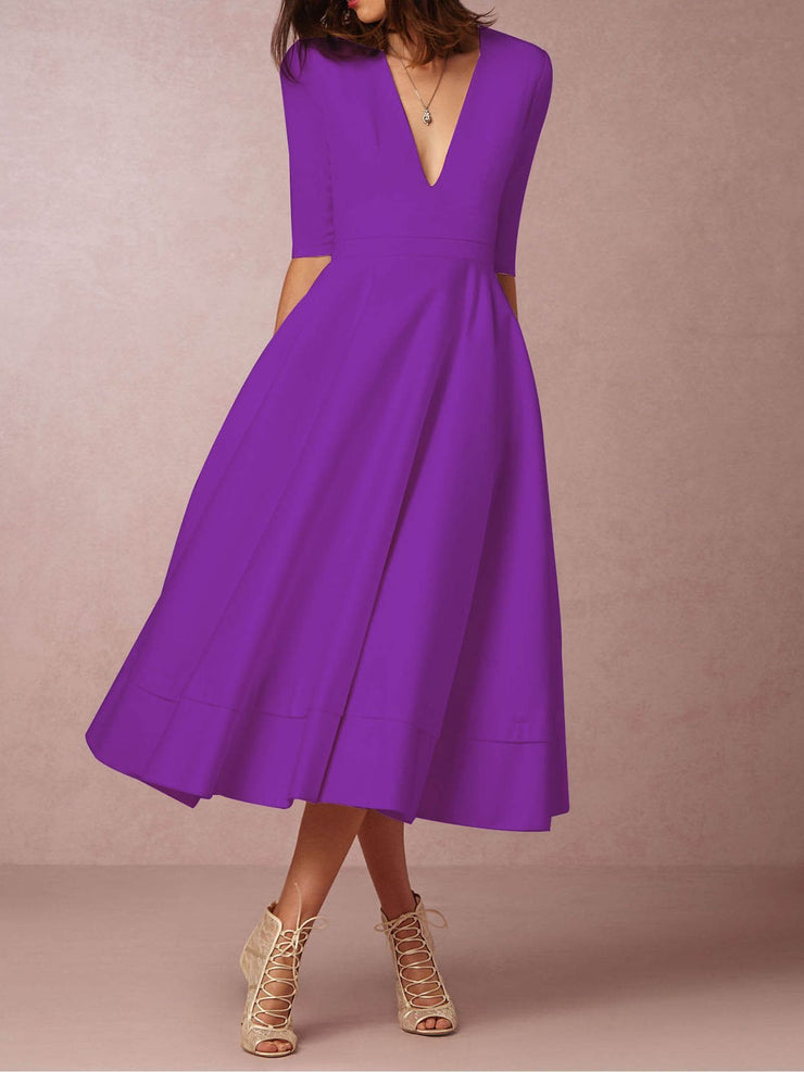 Deep V-Neck Solid Elegant Dress