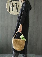 Women's Black Solid Casual Crew Neck Cotton Casual Dress