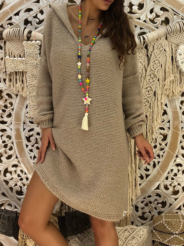 Women's Gray Hoodie Solid Shift Basic Casual Dress