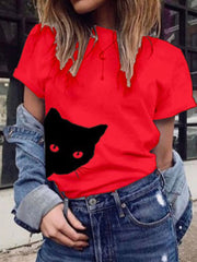 Women's Round Neck Animal Casual Tops