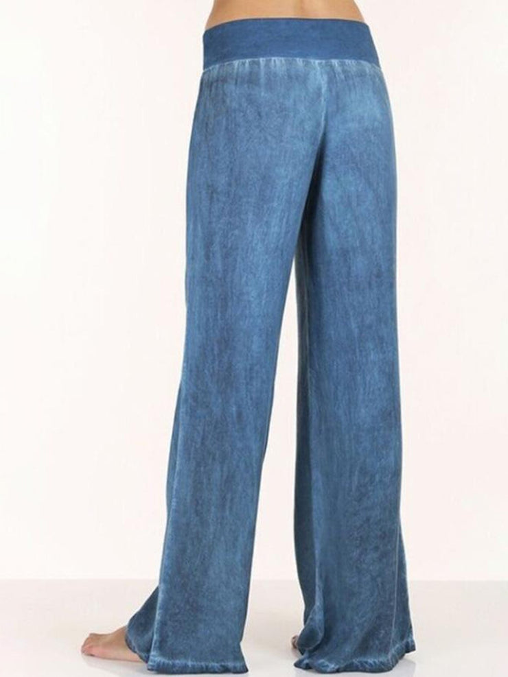 Women's Basic Solid Casual Pants Denim Trousers