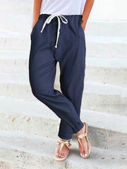 Women's Cropped harem pants Solid Casual Pants