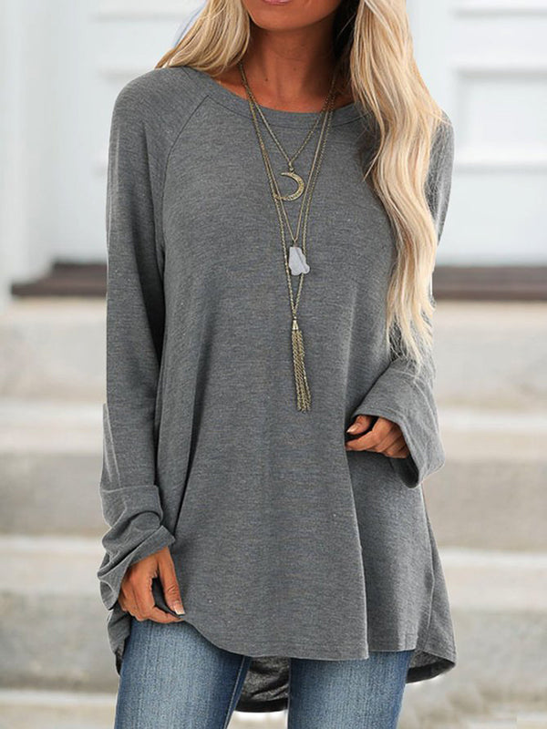 Women's Casual Gray Cotton Crew Neck Solid Shirts & Tops