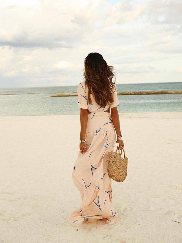 Women's Elegant V-Neck Print Short Sleeve Maxi Dress