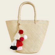 Women's Braided Tote Bag With Tassel Bag Charm
