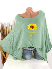 Women's Casual floral-printed loose bat blouse with an O-neck