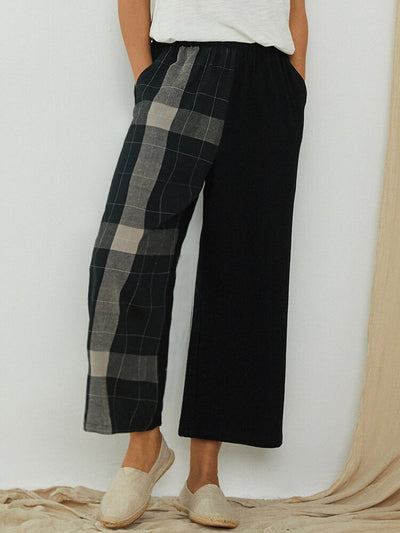 Women's Plaid Patched Elastic Waist Casual Pant