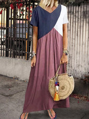 Women's Casual maxi dress with color block and short sleeves