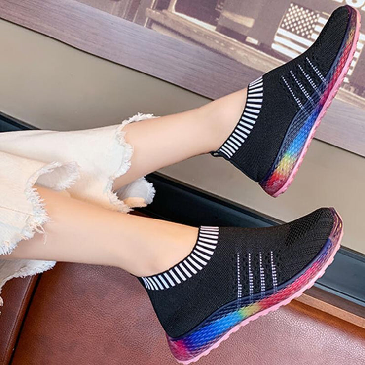 Women's Colored Bottom Striped Breathable Casual Sneakers