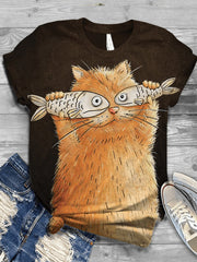 Plus Size Cotton-Blend Animal Casual Crew Neck Shirts & Tops