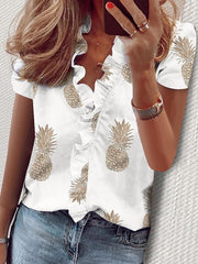 Women's Print Short Sleeves Casual Blouses