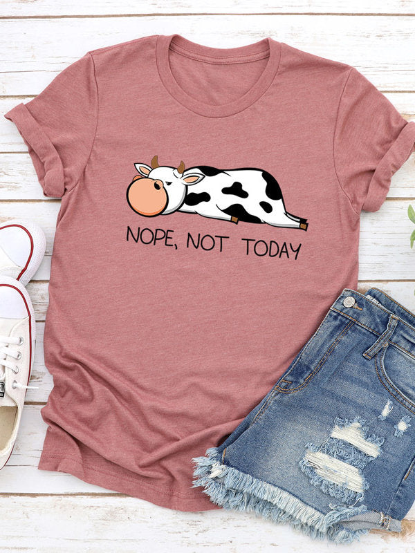 Women's Casual Short Sleeve Cow Print Shirts & Tops