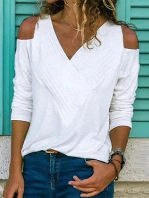 Cotton-Blend Casual V Neck Shirts & Tops