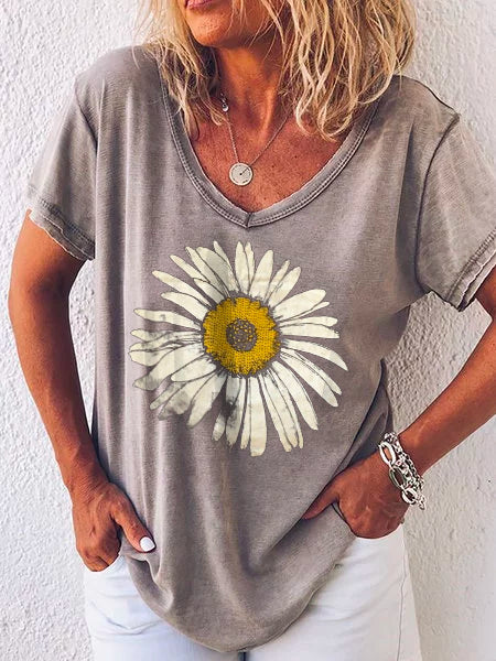 Women's Printed Casual Short Sleeve Floral Shirts & Tops