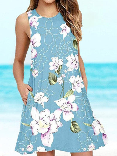 Floral-print Casual Sleeveless Dresses