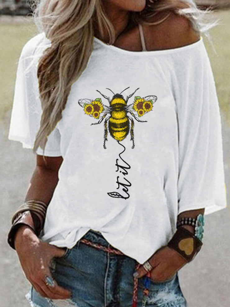 Flower Bee Letter Print Short Sleeve T-shirt For Women
