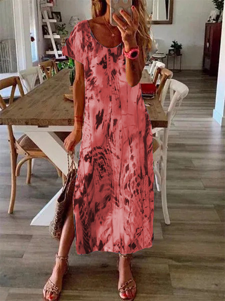 Women'S V-Neck Gradient Print Dress