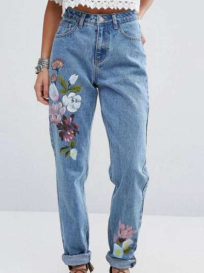Women Floral Pockets Shift Casual Jeans
